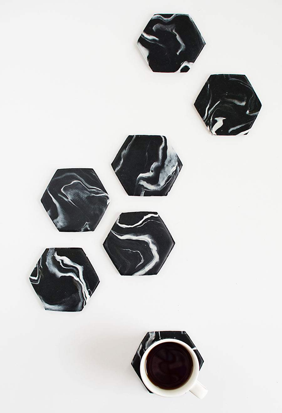 DIY Hexagon Marble Coasters