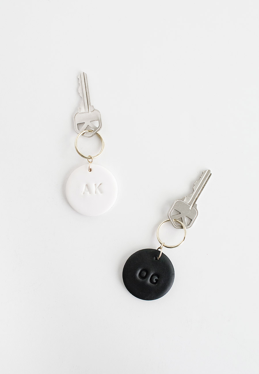 DIY Monogram Clay Keychains pair
