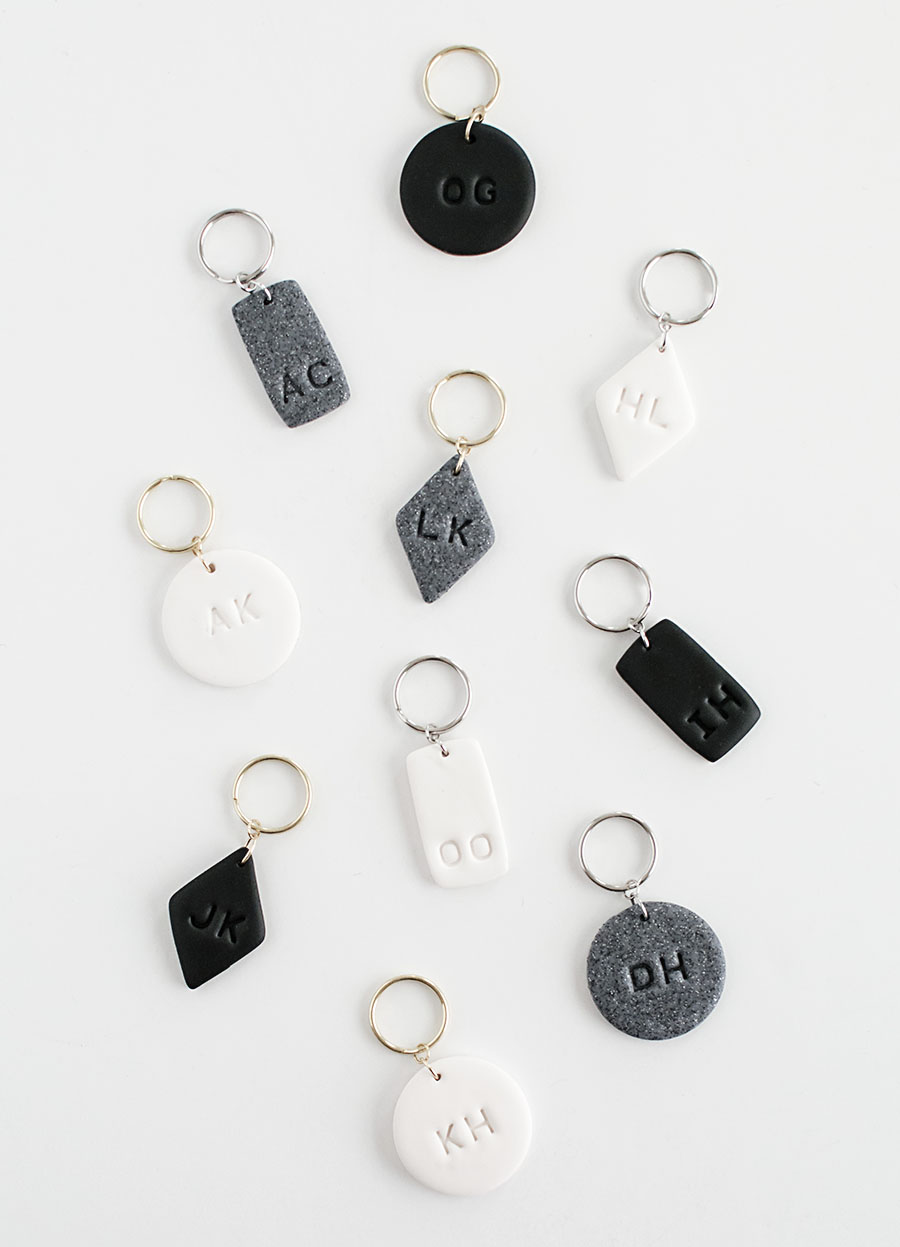 DIY Monogram Clay Keychains