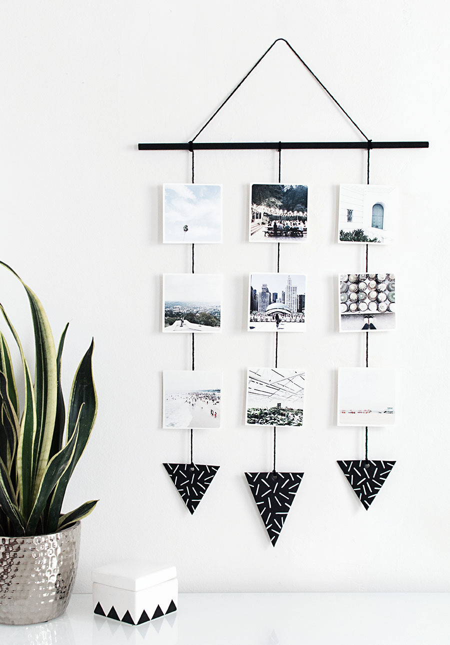 diy photo wall hanging homey oh my. Black Bedroom Furniture Sets. Home Design Ideas