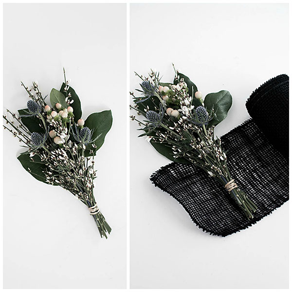 3 easy ways to wrap flowers black burlap wrap mightylinksfo Gallery