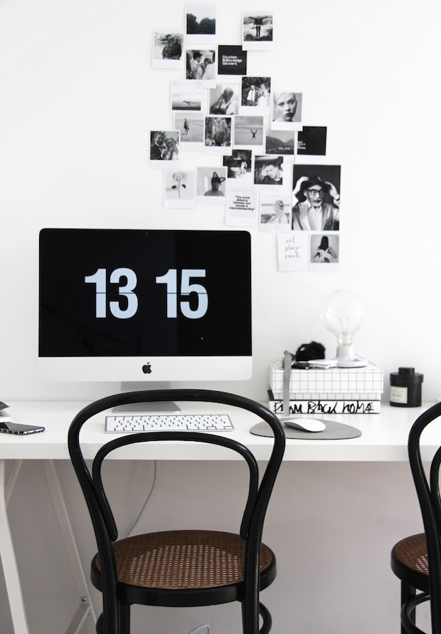 black white desk