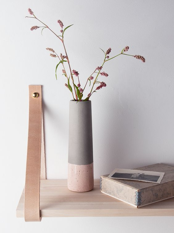 blush dipped vase