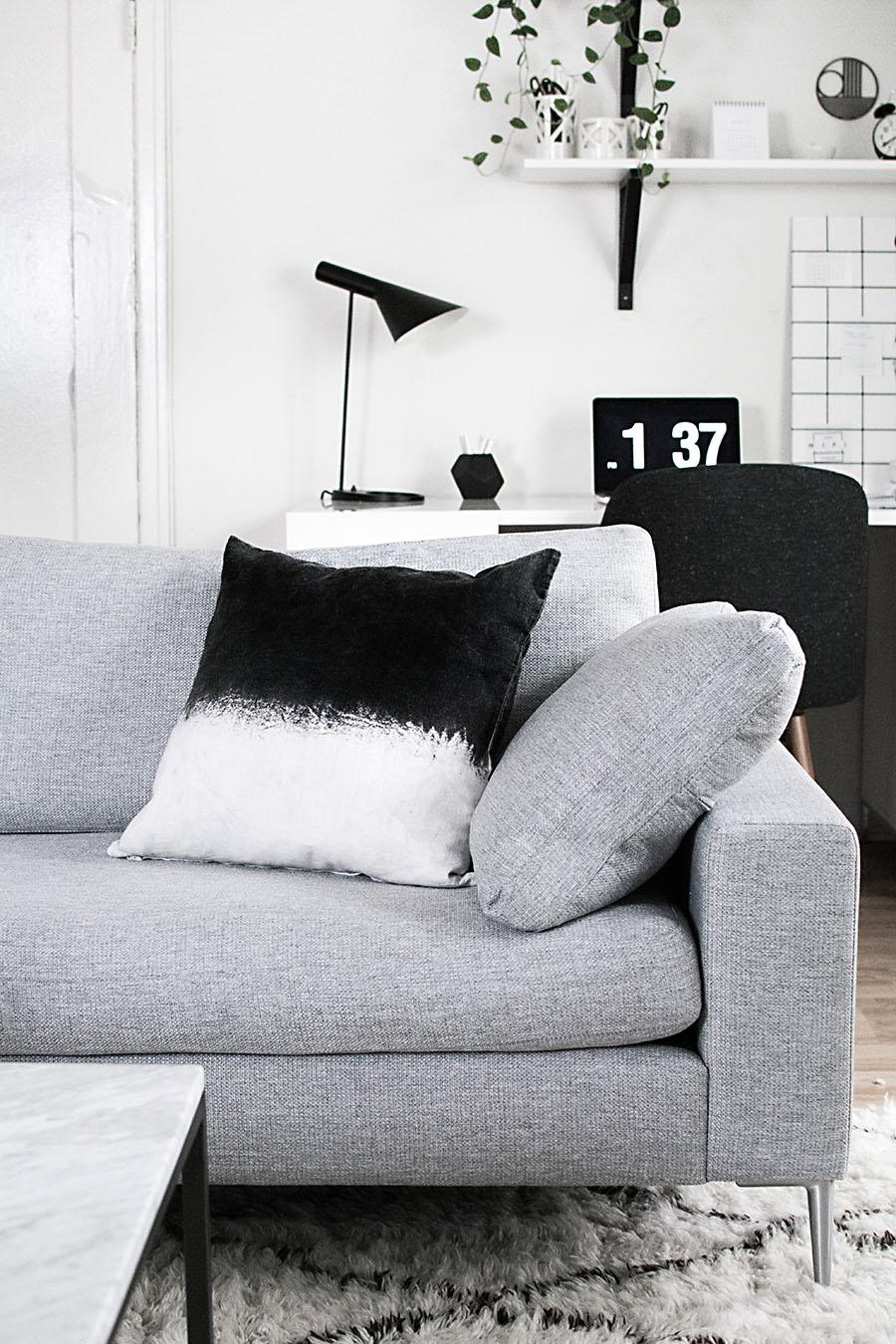 Black Dip Dyed Pillow DIY