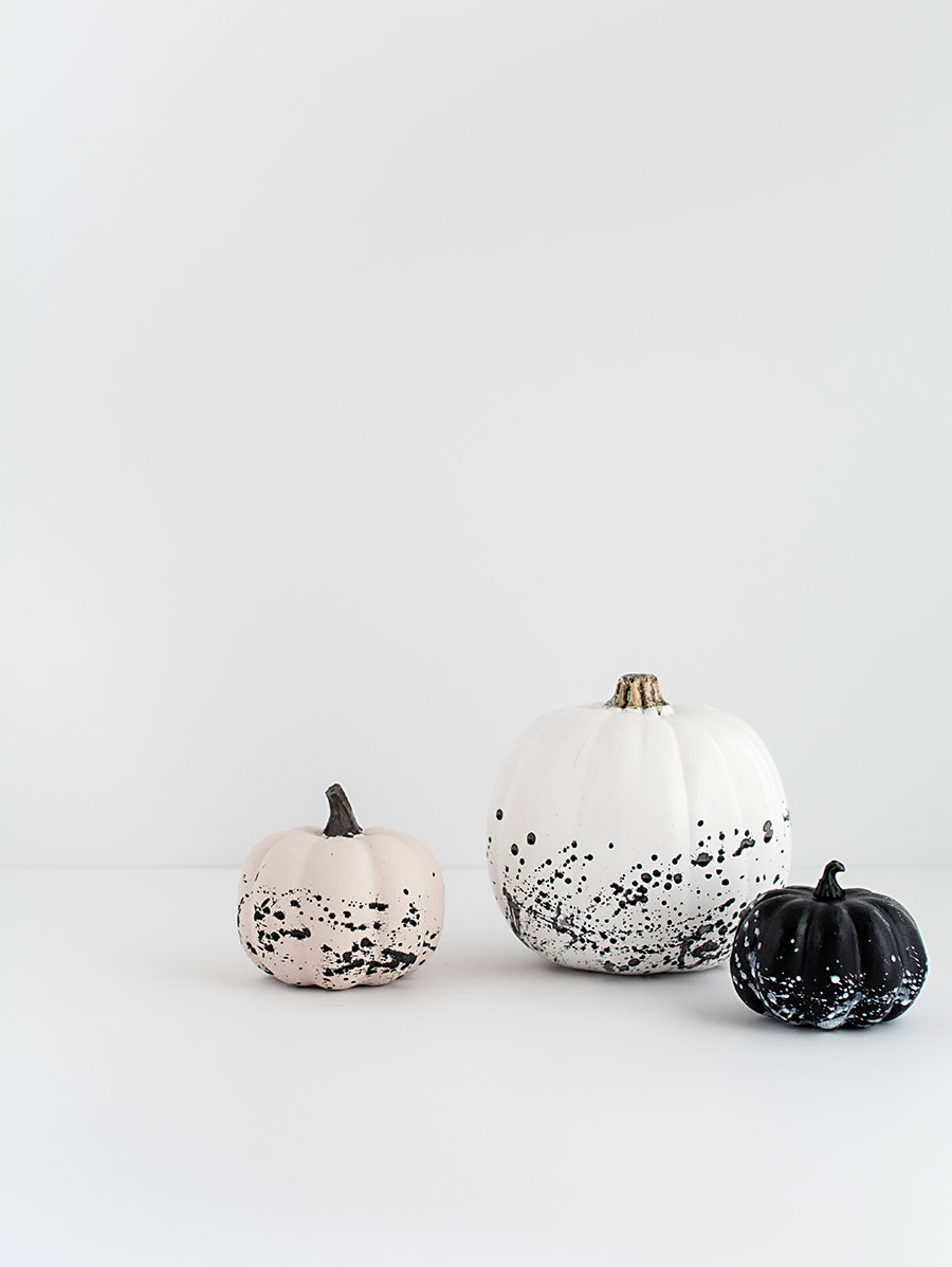 DIY paint splattered pumpkins