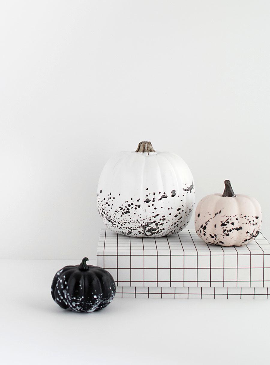 Paint splattered pumpkins DIY