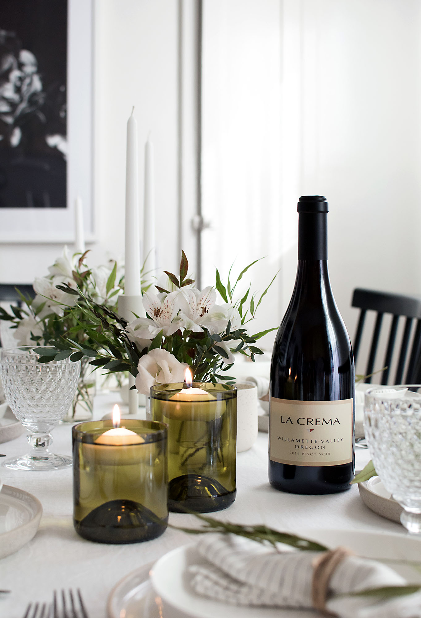 Diy wine bottle floating candle holders for How to make candle holders out of wine bottles
