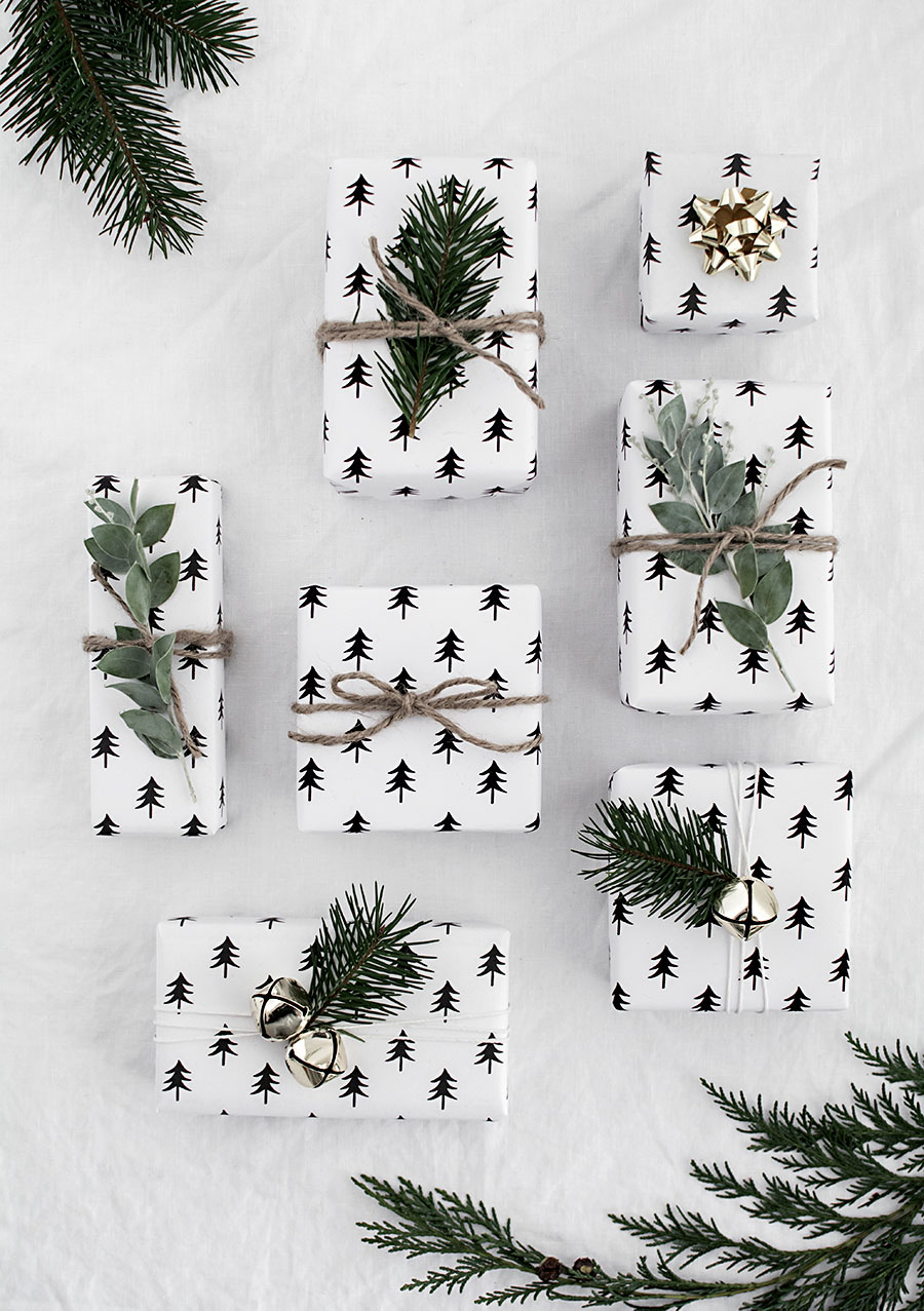White christmas gift wrap paper