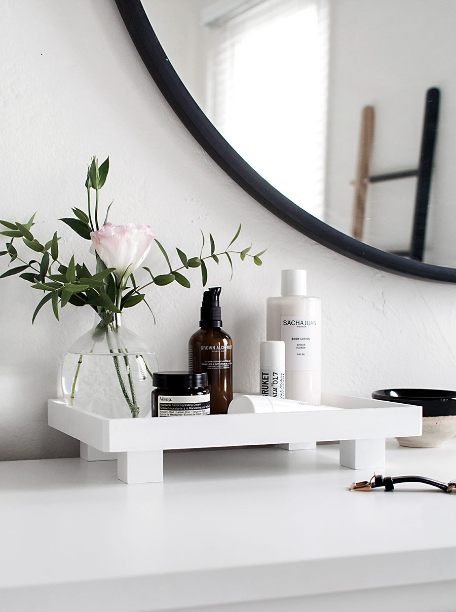 DIY Footed Vanity Tray