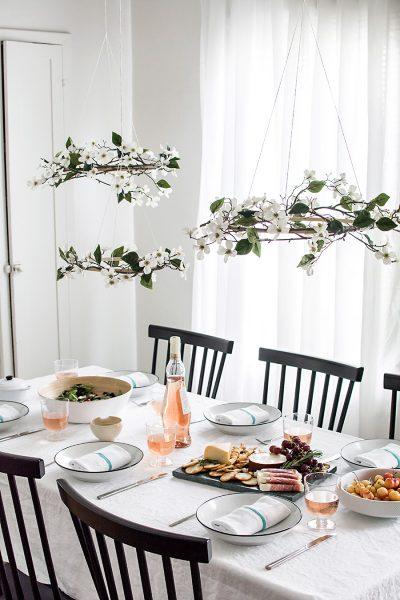 DIY Minimal Floral Chandeliers