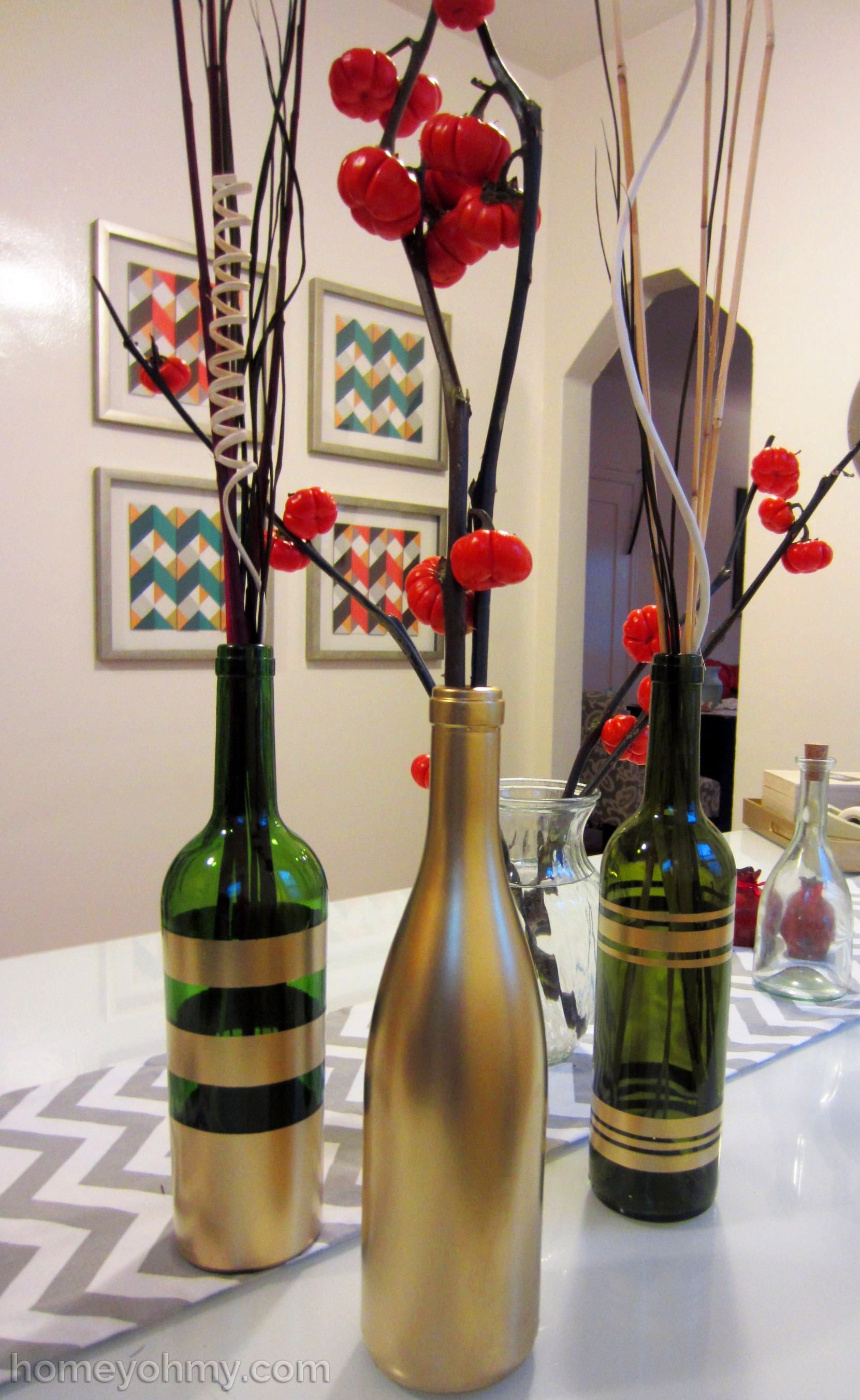 DIY Spray Painted Wine Bottles for Fall Decorating - Homey Oh My
