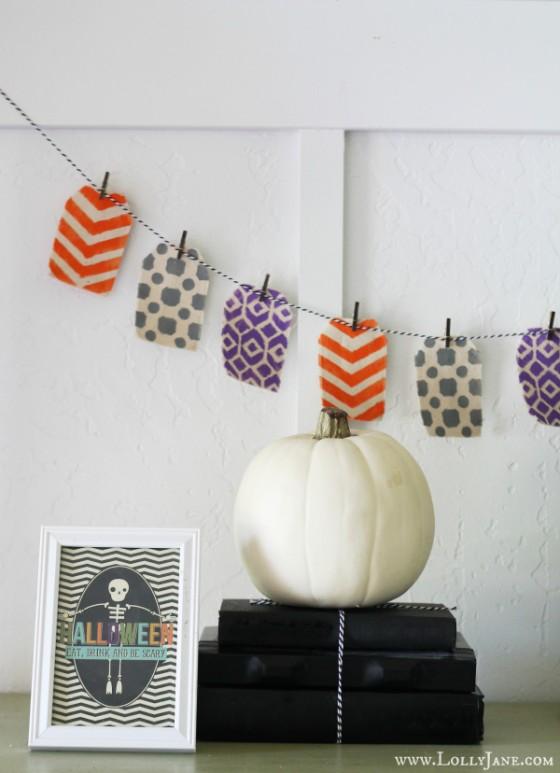 Stenciled Halloween Bunting Lollyjane