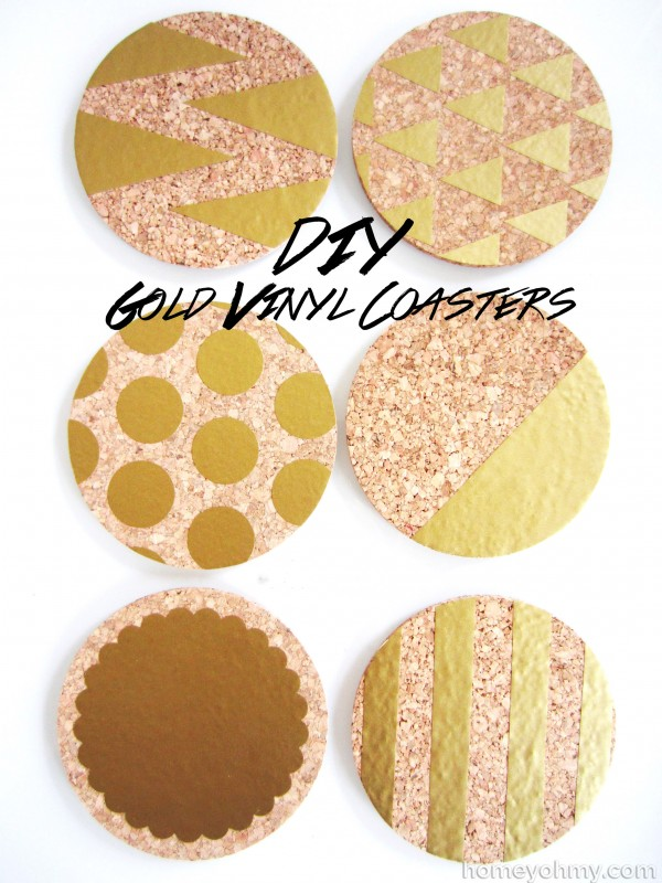 Diy Gold Vinyl Coasters Homey Oh My