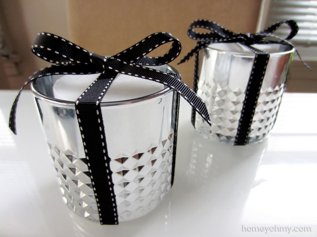 DIY mercury votive candle holders with ribbon