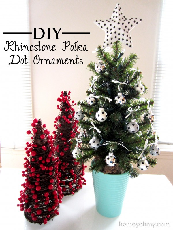 Mini Christmas tree with DIY Rhinestone Polka Dot Ornaments
