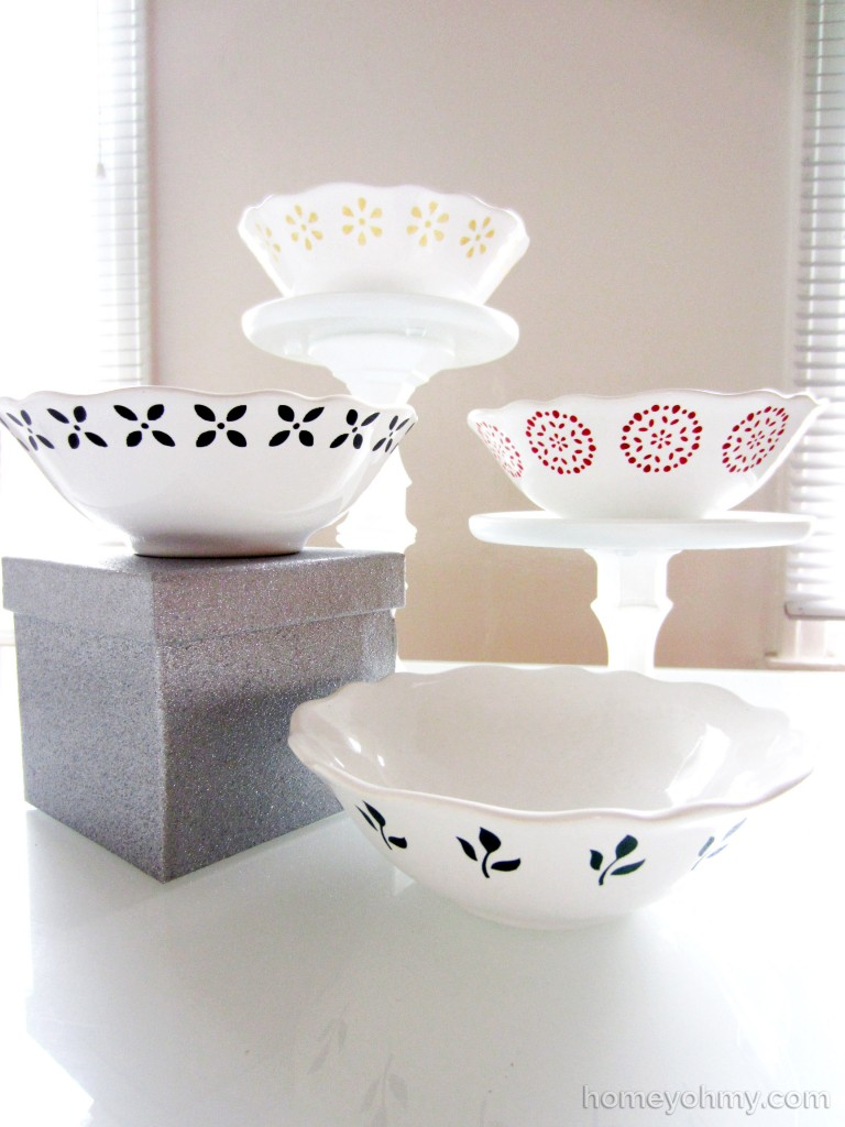 DIY painted bowls display