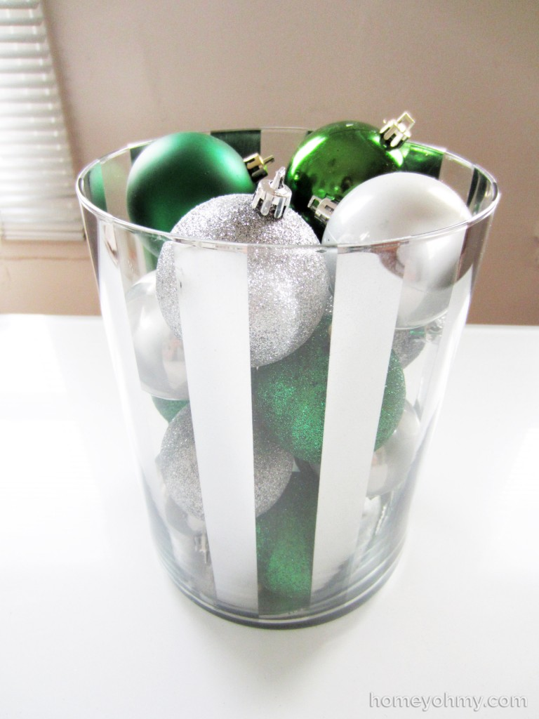Striped Mercury Glass Vase with Ornaments