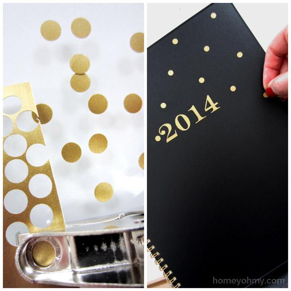 Gold vinyl polka dots