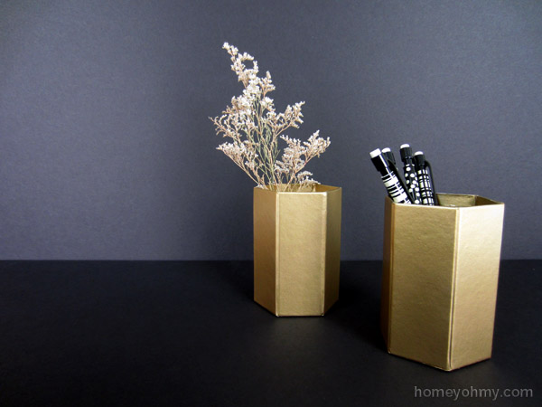 Gold pencil cups and caspia