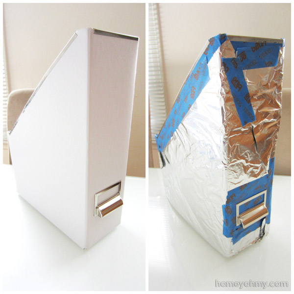 IKEA Kasset magazine holder taped and foiled