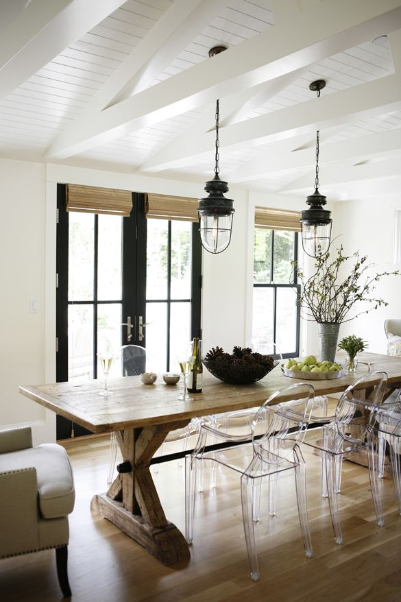 Farmhouse table and ghost chairs