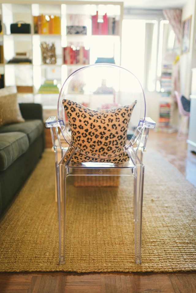 Ghost chair and leopard pillow