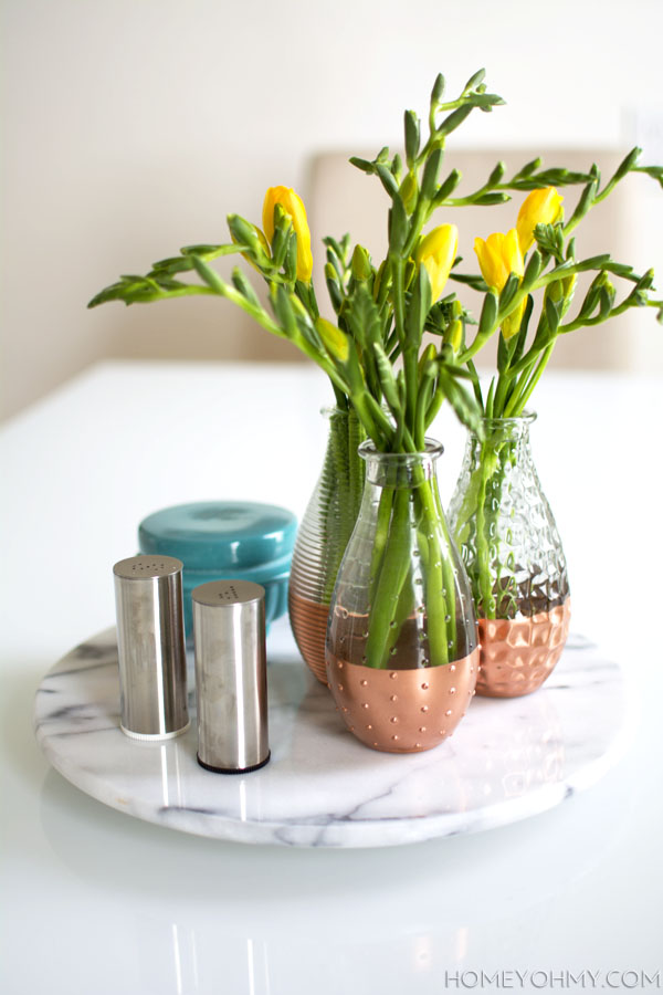 Spring centerpiece with copper and marble