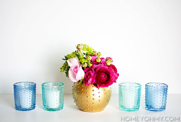 Beaded votives and vase