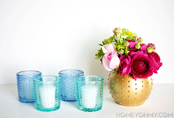 DIY Beaded Votives and Vase