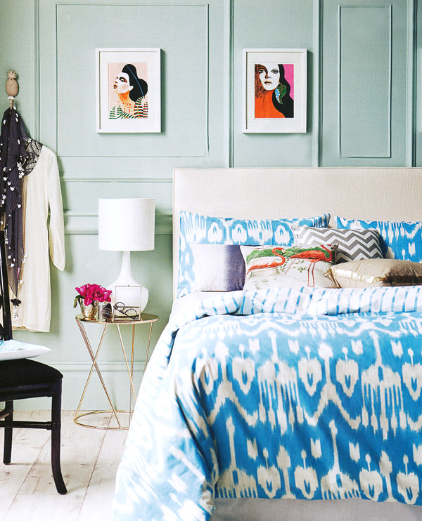 Mint bedroom wall with ikat bedding