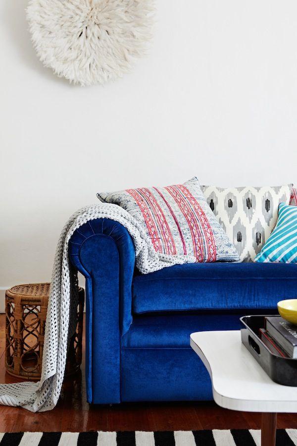 Blue velvet couch styling