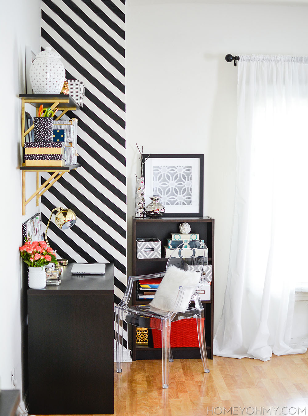 How To Create A Striped Accent Wall Without Paint Homey Oh My