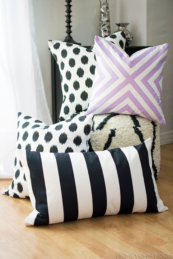 diy no sew pillow covers - homey oh my Making Accent Pillows