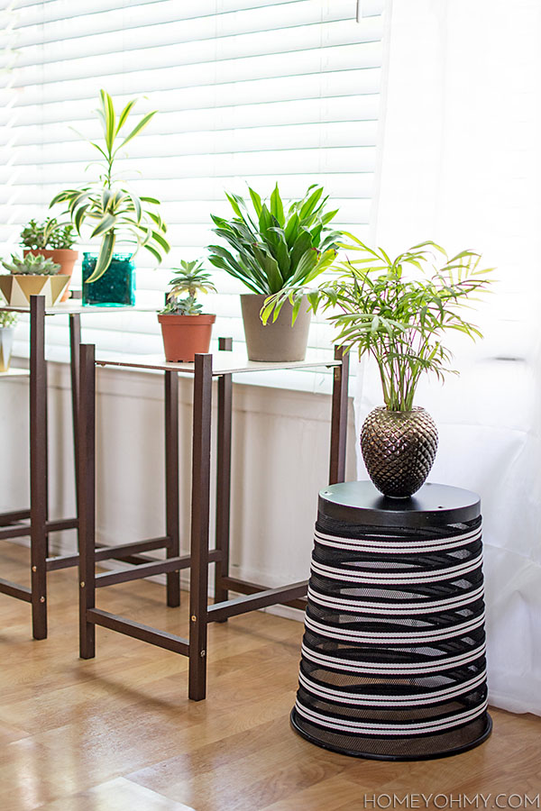 Decorate a boring trash can and repurpose it into a plant stand.  Click through for the tutorial!