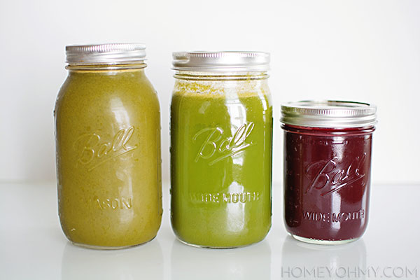 Juices in mason jars