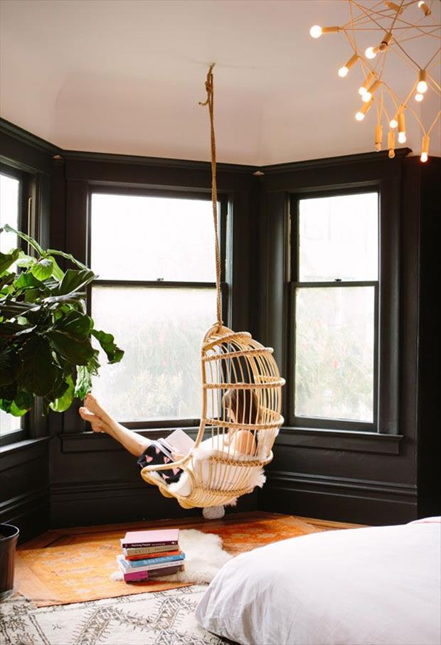 Hanging chair in SF apartment
