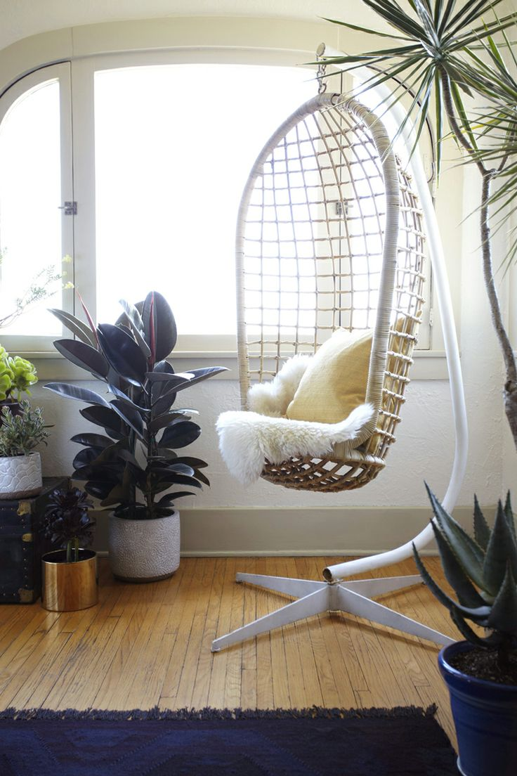 Hanging chair in an LA bungalow