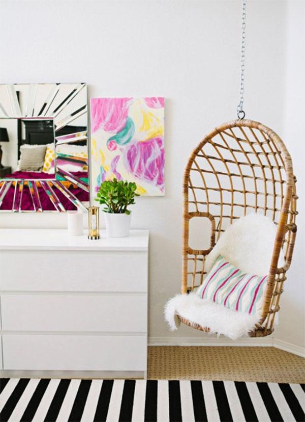 Hanging chair in bedroom