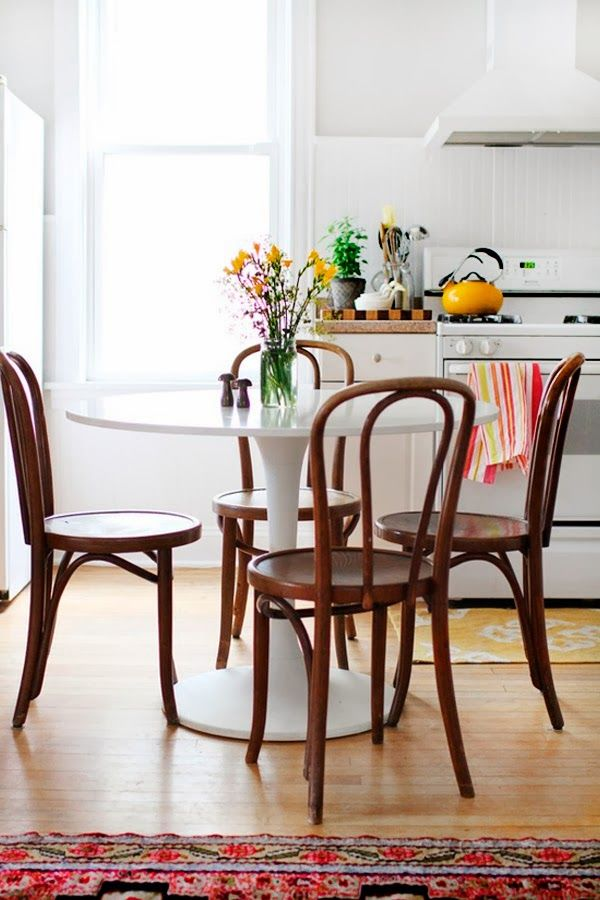 Tulip table with bentwood chairs