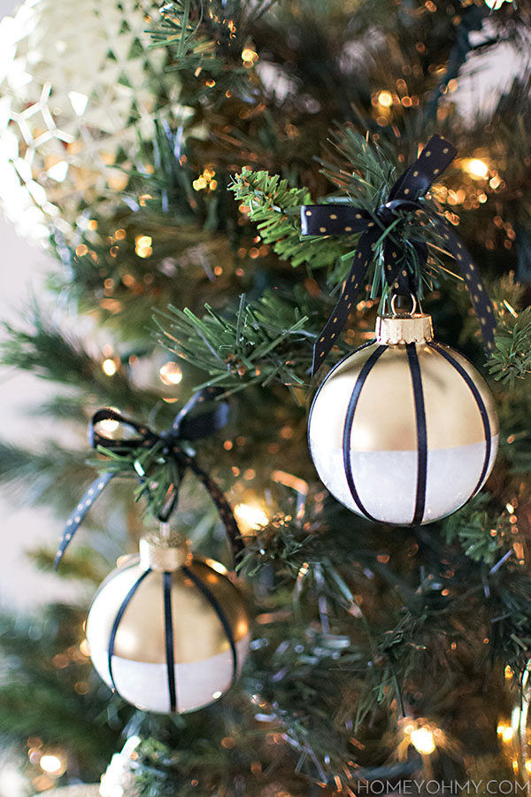 Diy Black White And Gold Ornaments Homey Oh My