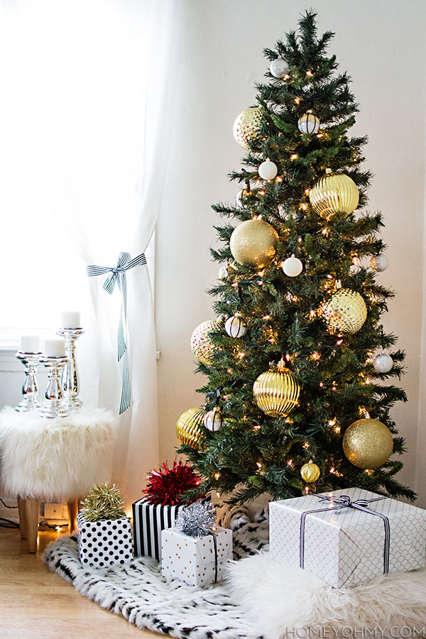 Skinny Christmas Tree With Large Gold Ornaments Great For Impact In A Small E