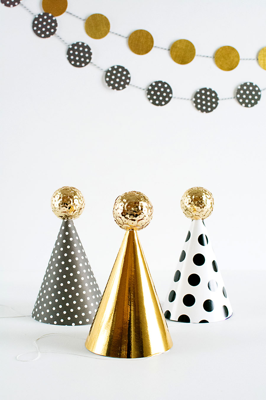 DIY Sequin ball party hats for NYE