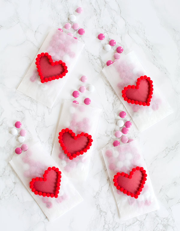 DIY Valentine's Day Pom Pom Heart Treat Bags