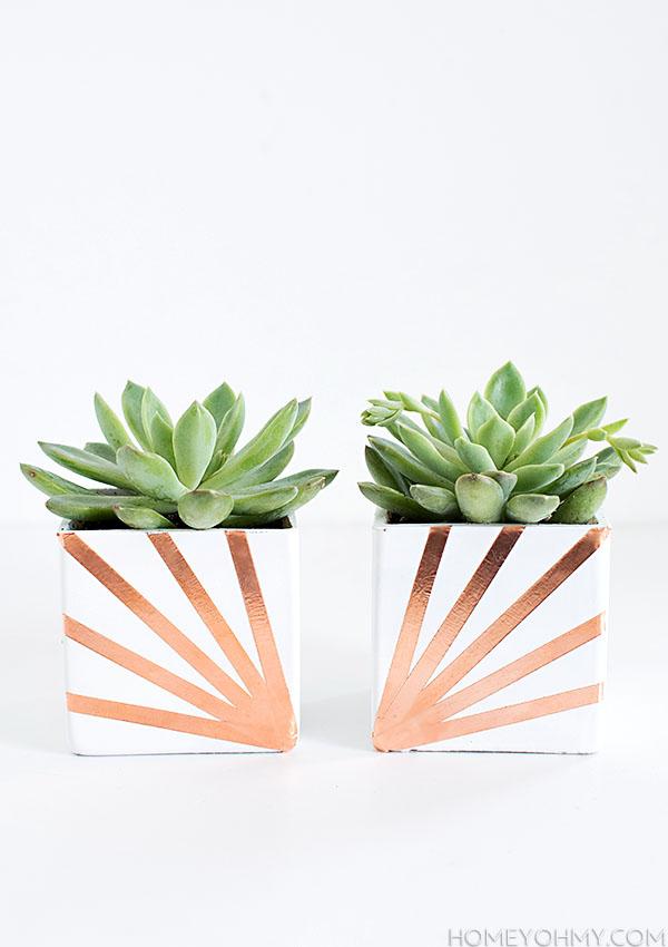 Copper and White Succulent Planter DIY