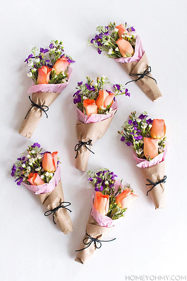 Diy Mini Flower Bouquets Homey Oh My
