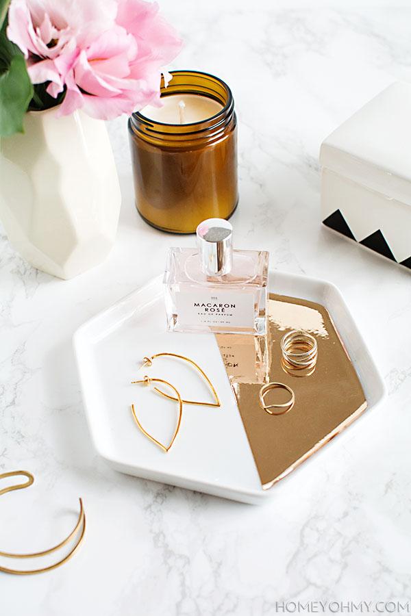 DIY Mirrored gold hexagon tray