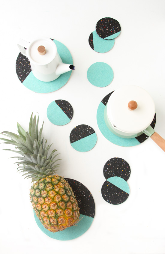 color-blocked-diy-coasters-trivets-turquoise-and-black-in-a-cluster-styled-2
