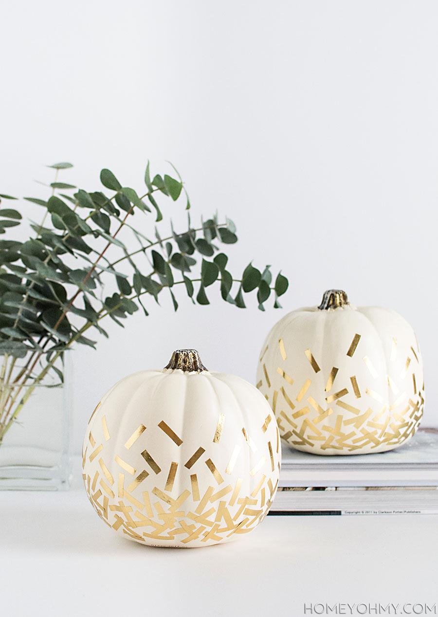 DIY Gold Confetti Pumpkins