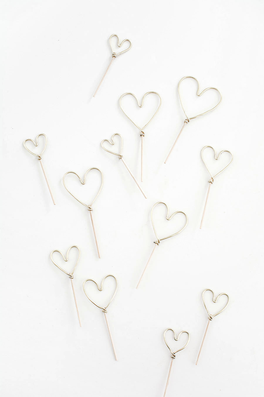gold wire hearts
