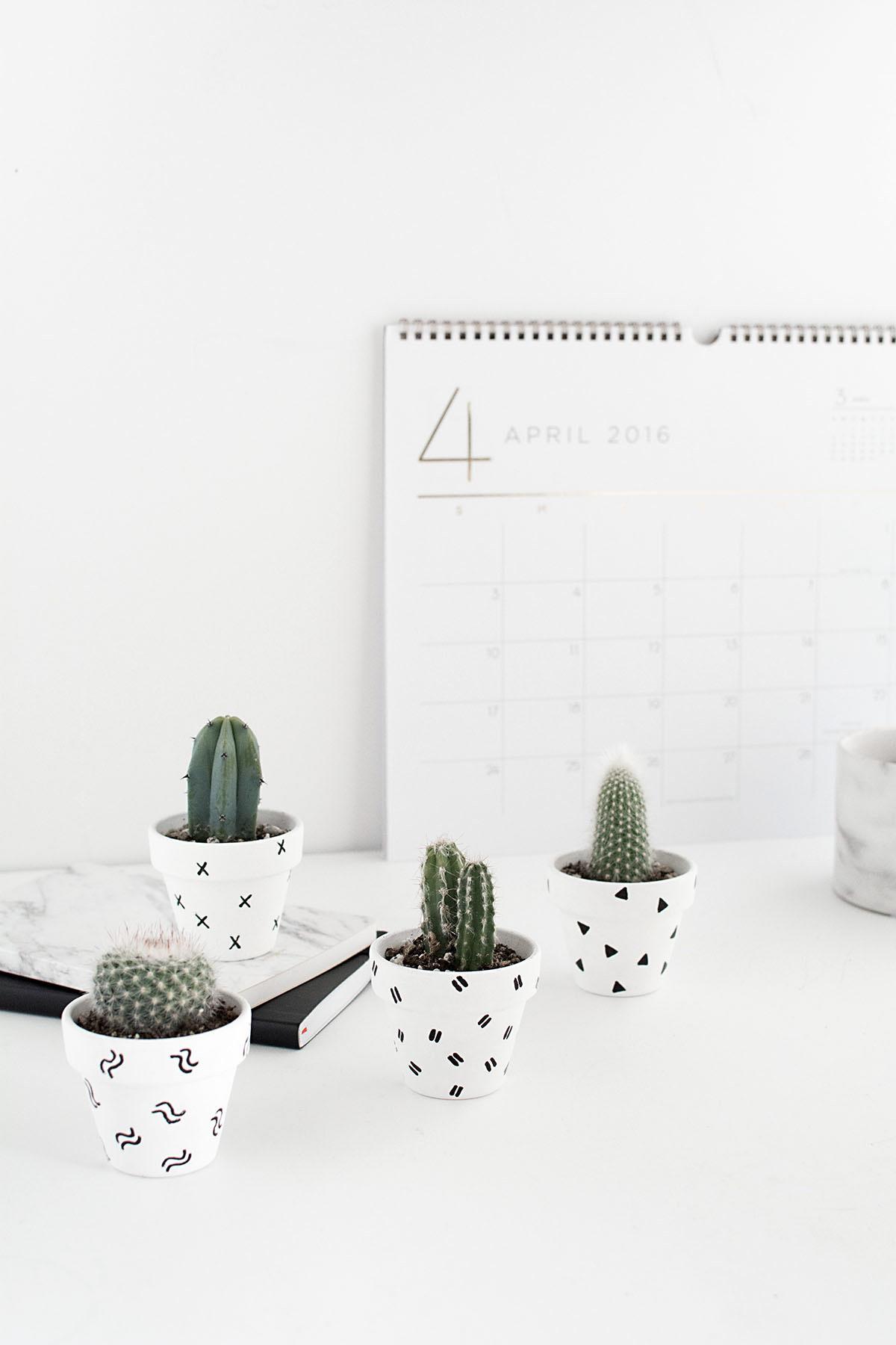 DIY Mini Patterned Plant Pots - mini catci